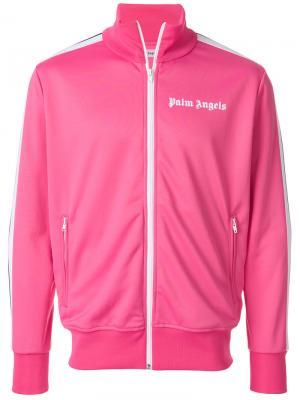 Спортивная куртка с полосками на рукавах Palm Angels. Цвет: розовый и фиолетовый