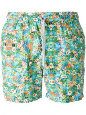Плавательные шорты с цветочным принтом Capricode. Цвет: зелёный