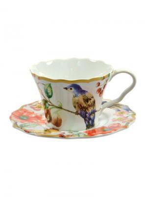 Чашка с блюдцем  Дивная птица, 200мл. Elff Ceramics. Цвет: синий,зеленый,красный