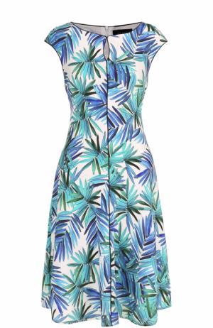 Шелковое приталенное платье с ярким принтом St. John. Цвет: голубой
