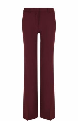Шерстяные расклешенные брюки со стрелками Theory. Цвет: бордовый