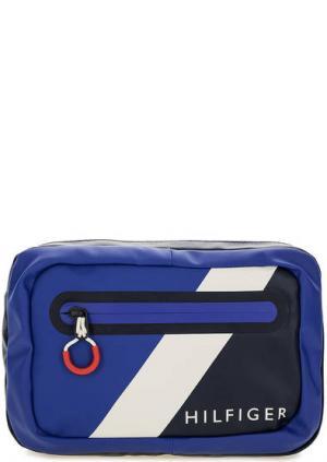 Синяя поясная сумка с одним отделом Tommy Hilfiger. Цвет: синий