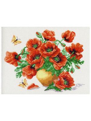 Рисунок на канве для вышивания Матренин Посад. Цвет: коралловый, белый, зеленый