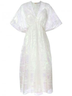 Платье c V-образным вырезом Tory Burch. Цвет: телесный