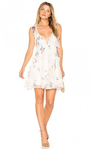 Шелковое мини платье dulce Karina Grimaldi. Цвет: белый
