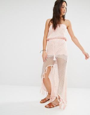 Minkpink Пляжное платье макси в стиле кроше с разрезом. Цвет: розовый