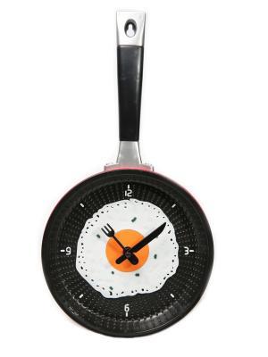 Часы настенные Сковорода с яичницей красная (18,5 см) Mitya Veselkov. Цвет: красный