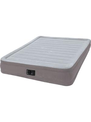 Надувной матрас комфорт-плюш 99х191х33см, встр.электр.насос Intex. Цвет: серый