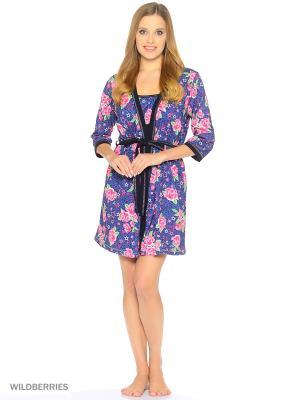 Комплект домашней одежды ( халат, ночная сорочка) HomeLike. Цвет: розовый, темно-синий