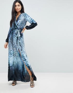 Jessica Wright Платье макси с принтом тай-дай и разрезом до бедра. Цвет: мульти