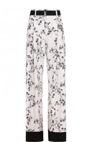 Расклешенные брюки с принтом и контрастным поясом Ann Demeulemeester. Цвет: белый