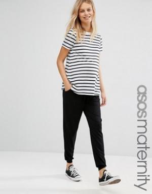 ASOS Maternity Трикотажные брюки-галифе для беременных со шнурком. Цвет: черный