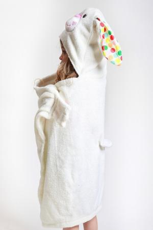 Белое полотенце с капюшоном Zoocchini. Цвет: multicolor