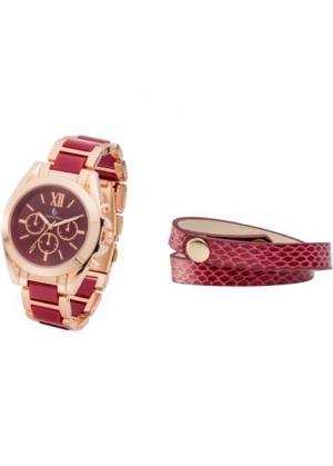 Набор: часы + браслет (бордовый/розово-золотистый) bonprix. Цвет: бордовый/розово-золотистый