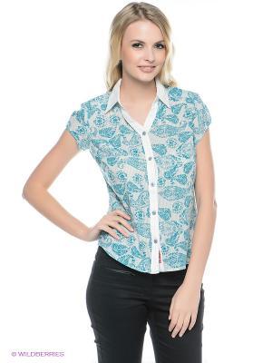 Рубашка Mavango. Цвет: бирюзовый, белый