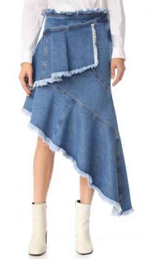 Асимметричная юбка из денима Philosophy di Lorenzo Serafini. Цвет: голубой