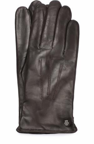 Кожаные перчатки с подкладкой из смеси шерсти и кашемира Roeckl. Цвет: темно-коричневый