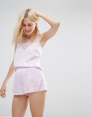Monki Пижамный комплект с топом и шортами кружевными вставками. Цвет: фиолетовый