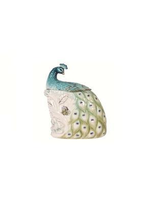 Банка для сыпучих Жар-птица Elff Ceramics. Цвет: белый, голубой