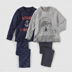 Комплект из 2 пижам джерси, 2-12 лет La Redoute Collections. Цвет: темно-синий + серый меланж
