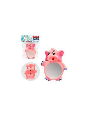 Декор для ванной с зеркалом, на присосах, СЛОНИКИ VALIANT. Цвет: розовый