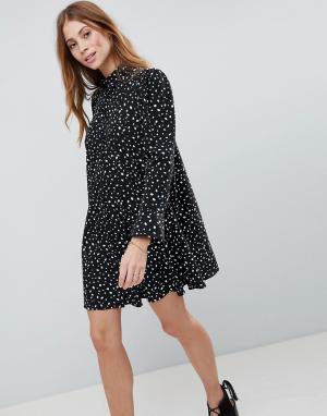 ASOS Платье-рубашка мини в горошек с длинными рукавами DESIGN. Цвет: черный
