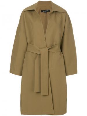 Пальто с поясом Ter Et Bantine. Цвет: коричневый