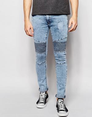 Loyalty & Faith Байкерские джинсы с эффектом кислотной стирки. Цвет: синий