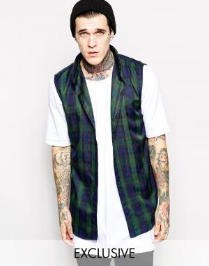 Thomas Codd London Длинная рубашка без рукавов с принтом тартан. Цвет: зеленый