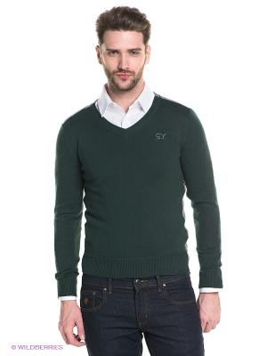 Пуловер Sweet years. Цвет: зеленый, серый меланж