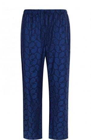 Хлопковые домашние брюки с узором пейсли Derek Rose. Цвет: синий