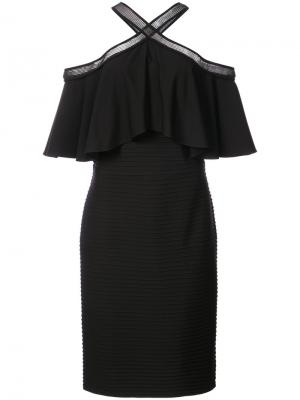 Платье с открытыми плечами и оборками Tadashi Shoji. Цвет: чёрный