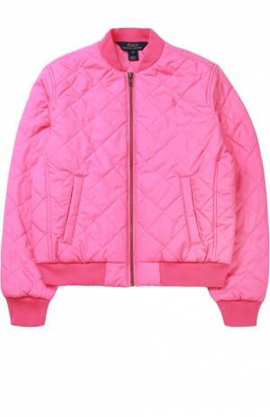 Стеганая куртка на молнии Polo Ralph Lauren. Цвет: розовый