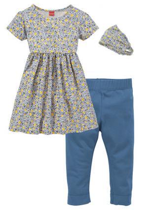 Комплект, 3 части: платье + легинсы лента для волос KIDOKI. Цвет: синий/с рисунком