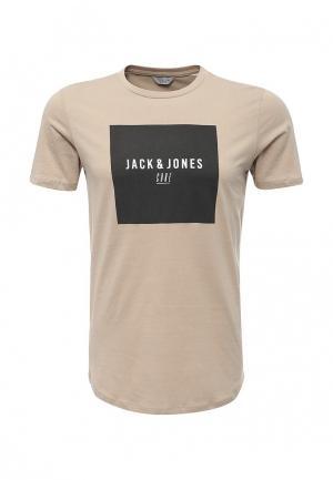 Футболка Jack & Jones. Цвет: бежевый
