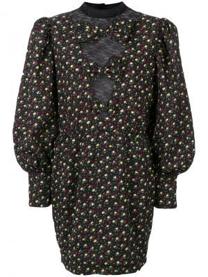 Платье с объемными рукавами и цветочным принтом Alessandra Rich. Цвет: чёрный