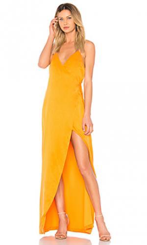 Вечернее платье-макси esperanza NBD. Цвет: оранжевый