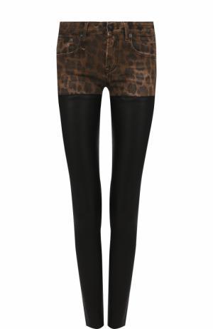 Кожаные брюки-скинни с леопардовой вставкой R13. Цвет: черный