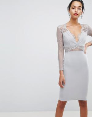 AX Paris Облегающее платье миди с длинными рукавами. Цвет: серый