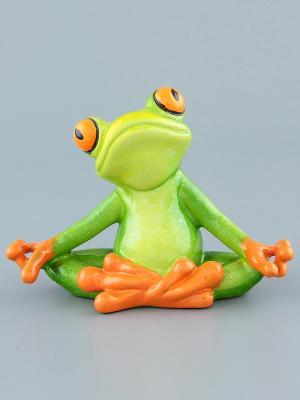 Фигурка Лягушка йог Elan Gallery. Цвет: зеленый, оранжевый