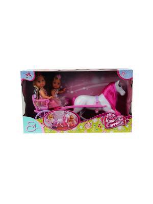 Две Еви-принцессы+лошадь с каретой, 12 см./25 см., 12/24 Simba. Цвет: розовый, белый