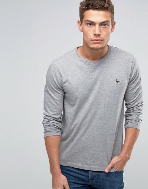 Jack Wills Эксклюзивный серый меланжевый лонгслив с логотипом. Цвет: серый