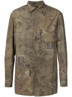 Рубашка с рисунком на тему античного мира Ziggy Chen. Цвет: коричневый