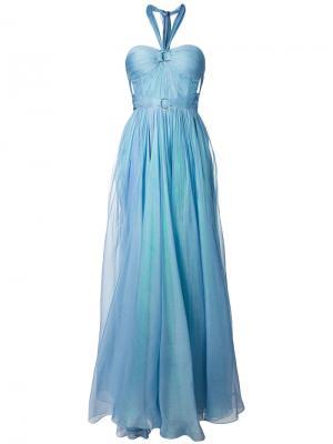 Длинное платье без бретелей с вырезом-халтер Maria Lucia Hohan. Цвет: синий