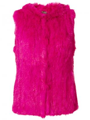 Жилет с капюшоном Yves Salomon Accessories. Цвет: розовый и фиолетовый