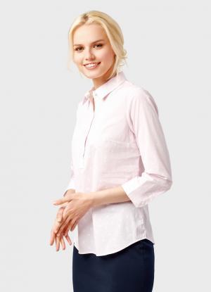 Рубашка из принтованного полотна OSTIN. Цвет: светло-розовый