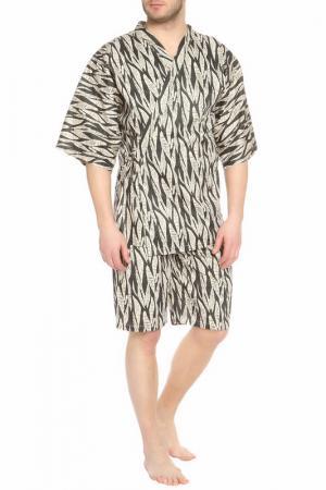 Пижама: брюки и кофта Maori. Цвет: бежевый с черным