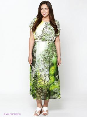 Платье Amelia Lux. Цвет: зеленый, молочный
