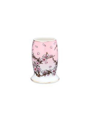 Вазочка под зубочистки Сакура на розовом Elan Gallery. Цвет: розовый