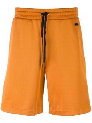 Спортивные шорты с контрастными полосками Ami Alexandre Mattiussi. Цвет: жёлтый и оранжевый